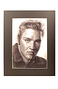 Elvis Charcoal Print Reproduction Matted