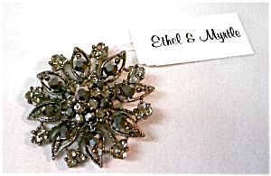 Ethel & Myrtle Crystal Pinwheel Flower Pin