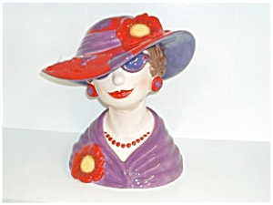 Flowered Lady Head Vase in Red Hat (Image1)