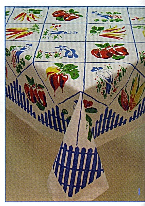 Vintage Pattern Fruit &  Vegetable Tablecloth (Image1)