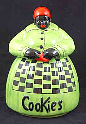 Mccoy Mammy Green Checked Cookie Jar