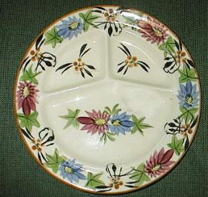 Flowered Grill Plate Made In Japan