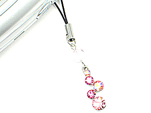 Pink Journey Crystal Drop Cell Phone Charm (Image1)
