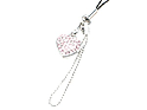 Pink Rhinestone Heart Cell Phone Charm
