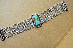 Turquoise Magnetic 5 Strand Oxidized Silver B