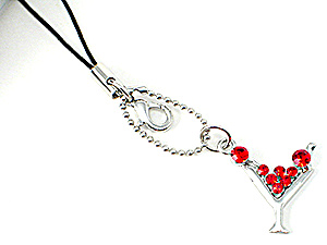 Red Martini Glass Crystal Cell Phone Charm