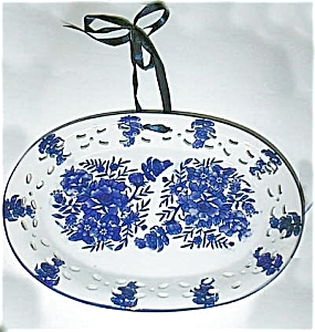 Plate-blue And White-oval