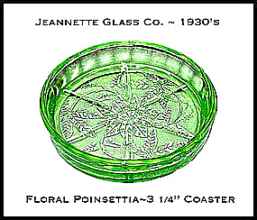 Jeannette Floral Poinsettia Green Coaster