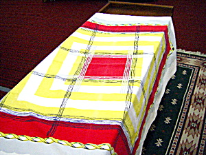 Red, Yellow, White Checked Tablecloth (Image1)