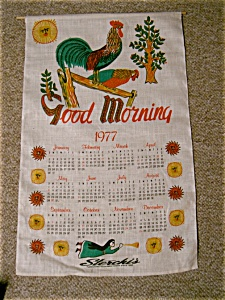1972 Sterchis Linen Calendar With 2 Roosters