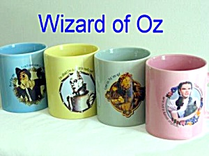 Wizard Of Oz Set Of 4 Ceramic Mugs Cups Mint