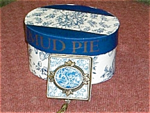 Mud Pie Blue Square Rose Toile Box