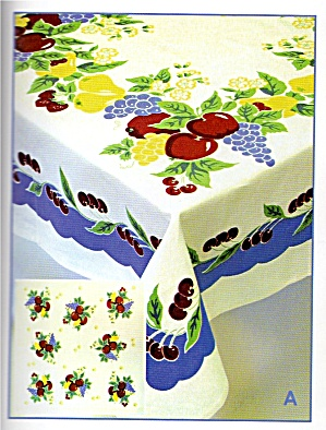 Vintage Pattern Cherry W Blue Trim Tablecloth