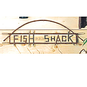 Wooden Real Twig Fishing Shack Sign