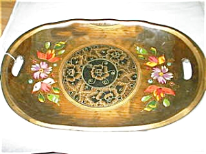 Old Wooden Hand Painted Oval Tray