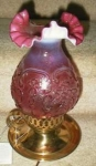 Click here to enlarge image and see more about item 0008: Fenton Cranberry Desk Lamp