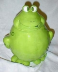 Click here to enlarge image and see more about item 0072: Ganz Frog with funny eyes Cookie Jar