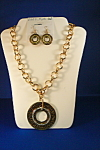 Click here to enlarge image and see more about item 4670: Ethel & Myrtle Gold Pendant w/Crystals Neck
