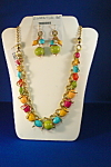 Click here to enlarge image and see more about item 5625: Ethel & Myrtle Multi Colored Bead Necklace
