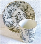 Click here to enlarge image and see more about item blackdemitoile: Toile Black and White Demi cup and saucer
