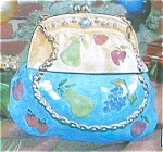 Click here to enlarge image and see more about item bluecreampurse: Ornate Purse Cookie Jar