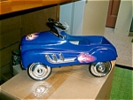 Click here to enlarge image and see more about item bluepedalcar: Blue 1:3 Hot Rod Pedal Car