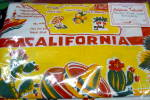 Click here to enlarge image and see more about item califyellow: Vintage Pattern Yellow California Tablecloth