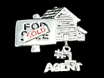 Click here to enlarge image and see more about item CN-491: Silver Tone #1 Agent Pin
