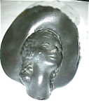 Click here to enlarge image and see more about item ebonyheadvase: Ebony Rare Large Head Vase with Hat