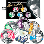 Click here to enlarge image and see more about item elviscoins: Elvis 50th Ann. 5 2002 Color TN Quarter Coins