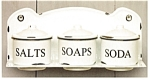 Click here to enlarge image and see more about item enamelcups: Enamel White Shelf with Cups with Lids