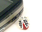 Click here to enlarge image and see more about item frogcharm: Red and Black Ladybug  Cell Phone Ring