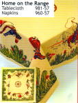 Click here to enlarge image and see more about item homeontherange: Vintage Pattern Cowboy Tablecloth w/Holder