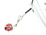 Click here to enlarge image and see more about item ln226pk: Red Ladybug Cell Phone Charm