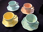 Click here to enlarge image and see more about item luraycups: Set of 4 Cups and Saucers in the Lu Ray Color
