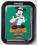 Click here to enlarge image and see more about item mickeytray: Mickey Mouse 75th Ann. Coke Driver Metal Tray