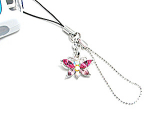 Click here to enlarge image and see more about item multi: Pink Colored Butterfly Cell Phone Charm