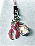 Pink Ribbon Enamel Cancer Cell Charm