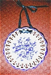 Click here to enlarge image and see more about item platebluewhiteopen: Round plate-blue and white-open lace
