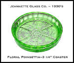 Click here to enlarge image and see more about item PoinsettiaCoasters: Jeannette Floral Poinsettia Green Coaster