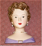 Click here to enlarge image and see more about item purpledress: Vintage like Head Vase lady with purple dress
