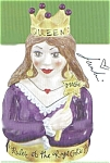 "First in a series for Julia Junkin, here is ""Queen."" She is ruler of the royal cookie jar. Don't miss the #1 with her crown and septor and red heart necklace. She is truly a ""Queen.&quo..."