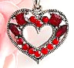 Click here to enlarge image and see more about item redheart: Red Rhinestone Silver TrimCell Phone Charm