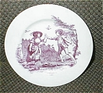 Click here to enlarge image and see more about item redtoileplate4: Toile Transferware Red Plate #4 Schmidt