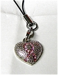 Pink Ribbon in Heart Cancer Cell Phone Charm