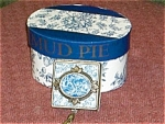 Click here to enlarge image and see more about item squarekeepsakeblue: Mud Pie Blue Square Rose Toile Box