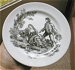 Click here to enlarge image and see more about item toiledesertplate: Toile RED and White Desert/Salad Plate