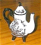 Click here to enlarge image and see more about item toileteapot2: Toile Black and White Rooster Teapot