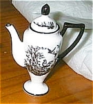 Click here to enlarge image and see more about item toileteapot: Toile Black and White Rooster Teapot