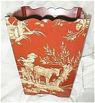 Click here to enlarge image and see more about item toilewastebasketred: Toile Red and Yellow Wastebasket